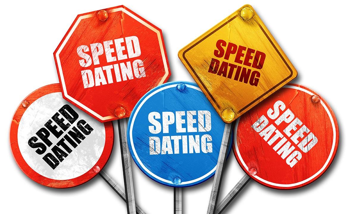 Schilder mit der Aufschrift Speed Dating