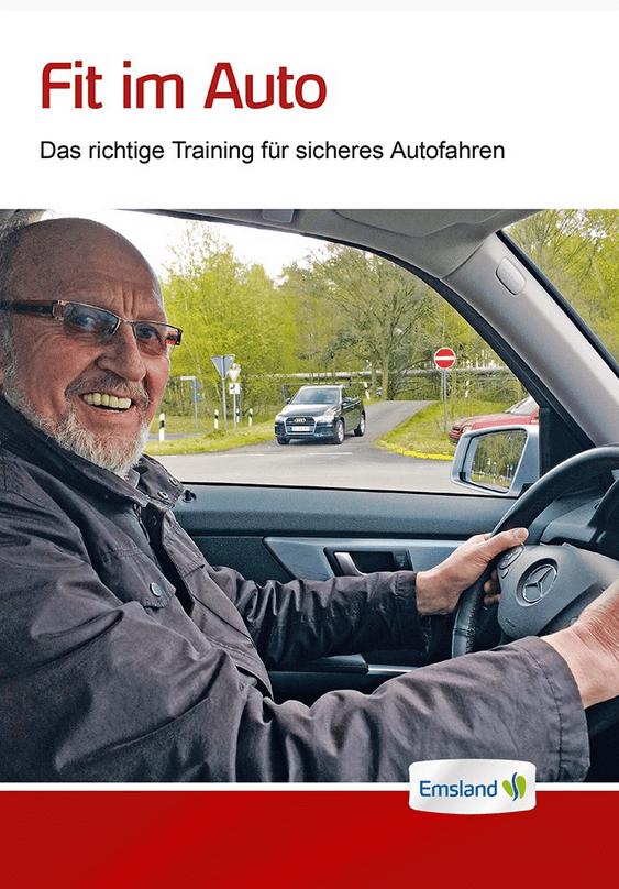 Infoflyer mit lächelndem Mann im Auto