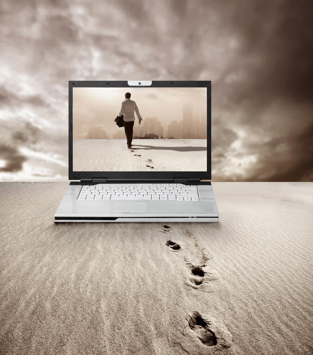 Mann geht durch den Bildschirm und hinterlässt dabei seine Fußabdrücke