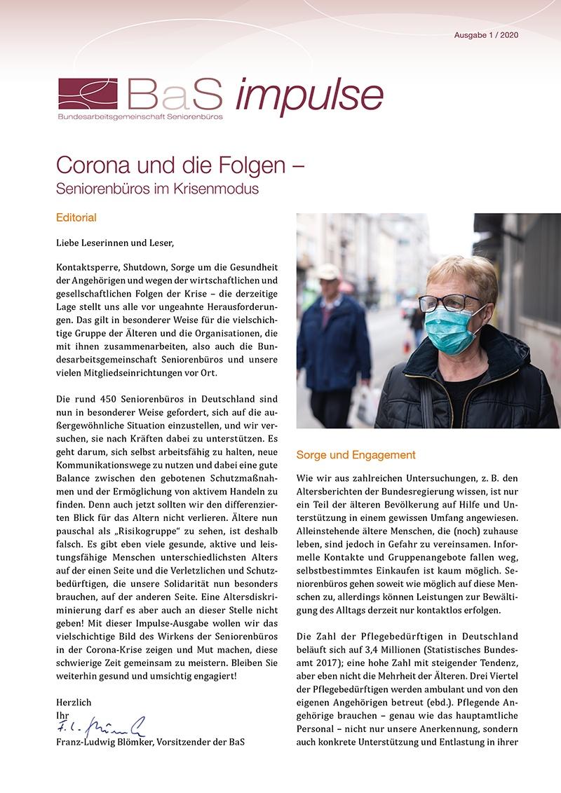 Erste Seite des Impulsepapiers mit Foto von einer Frau mit Mundschutz